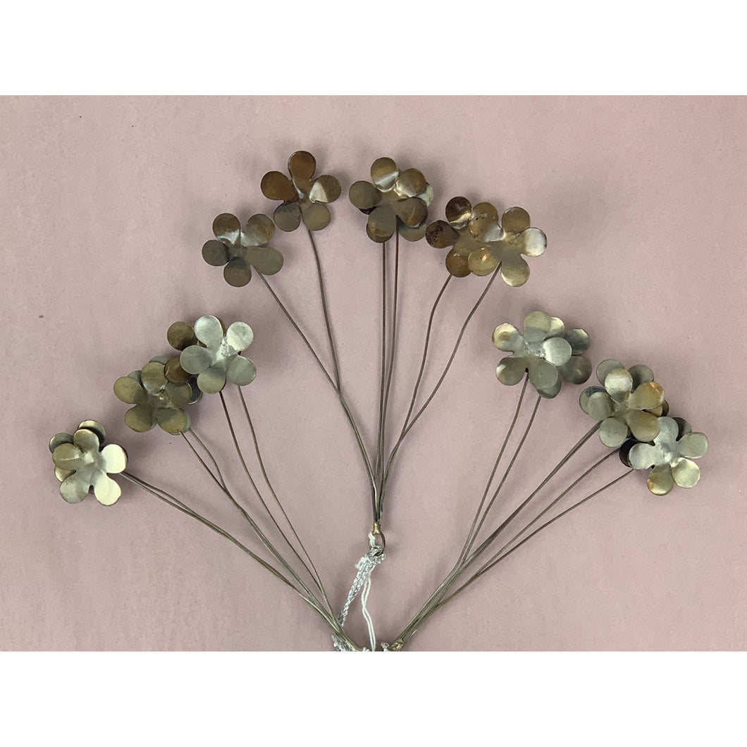 Silver Bundle of Metal Flowers