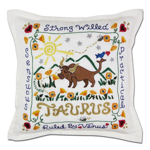 Taurus Astrology Hand-Embroidered Pillow