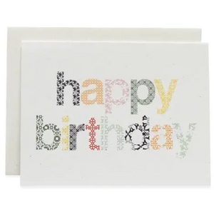 Woodblock Happy Birthday Greeting Card