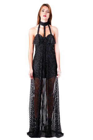 Halter maxi gown with glittery stripes mesh