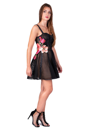 Corset mesh dress with embroidered flowers and Swarovski crystals