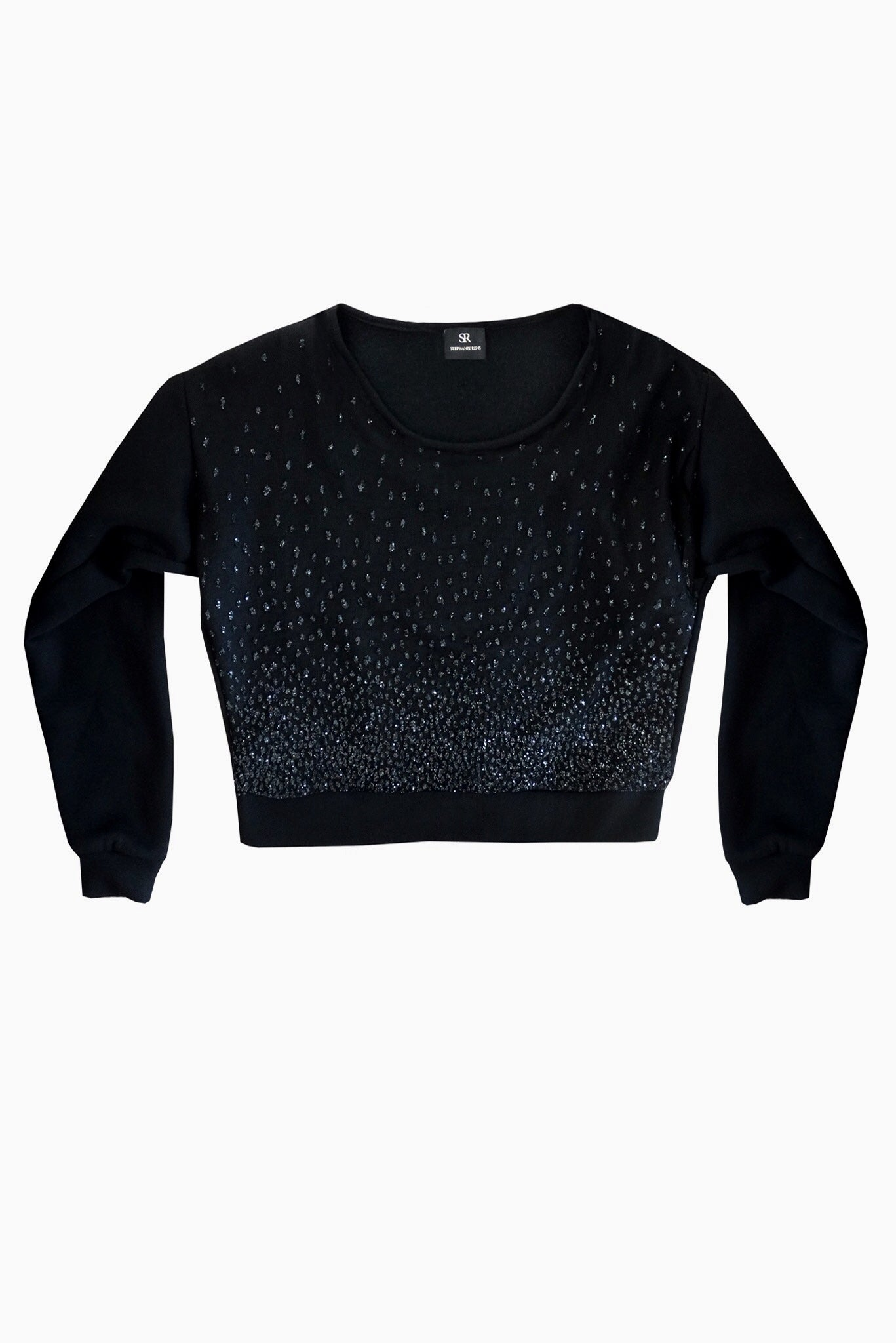 Cropped black sweater with shiny dots