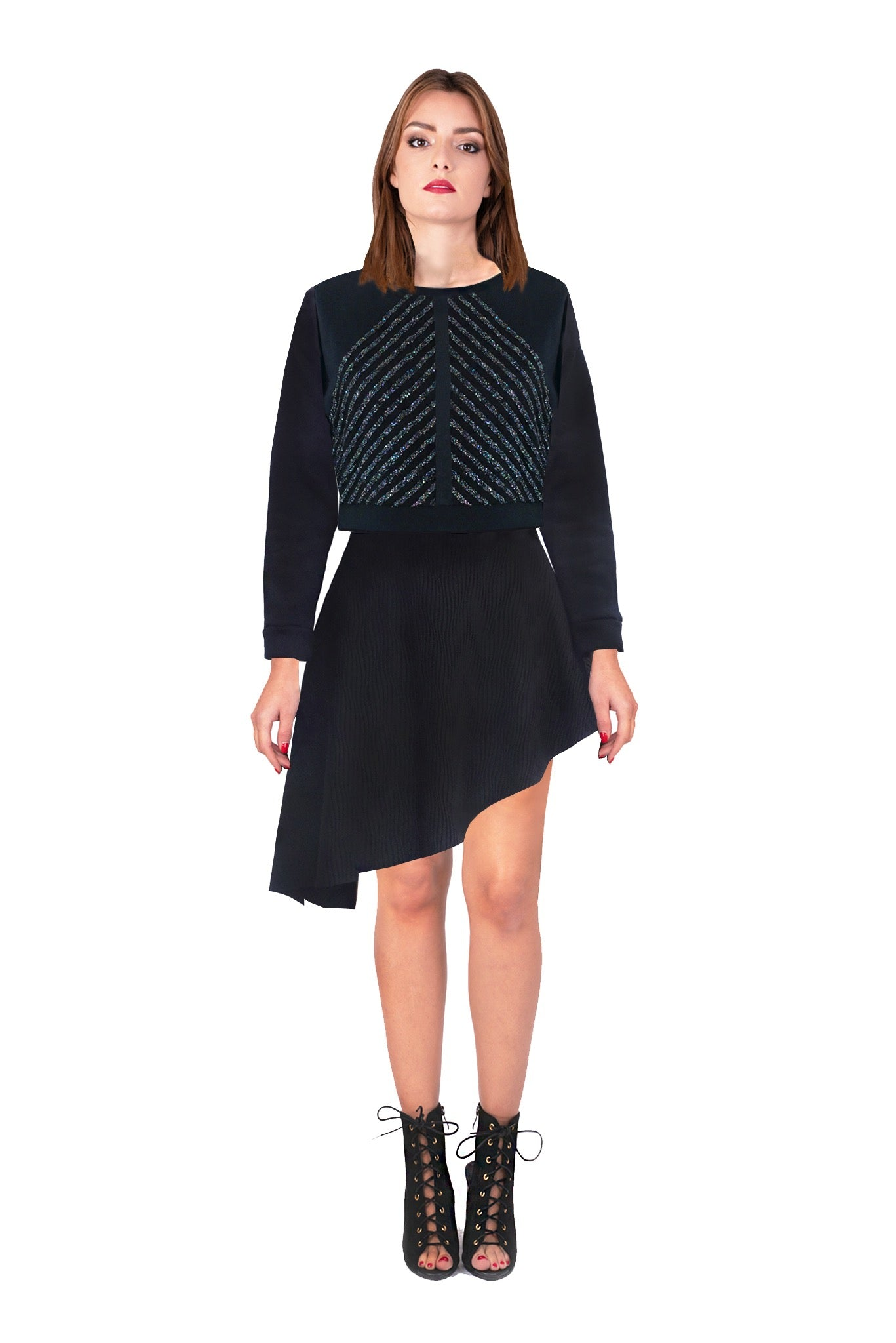 Asymmetric waffled ondulated skirt