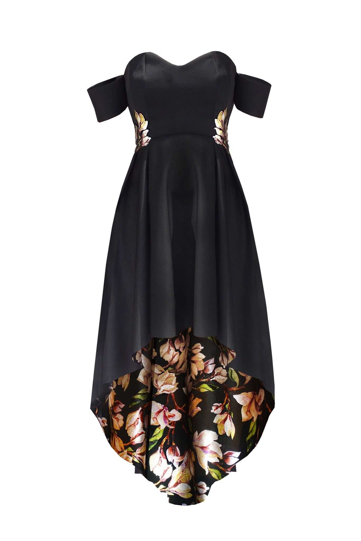 Off shoulder Romantic drapped neo flower dress