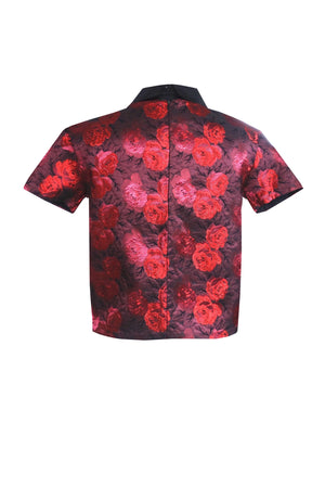 Red roses Brocard lamé top