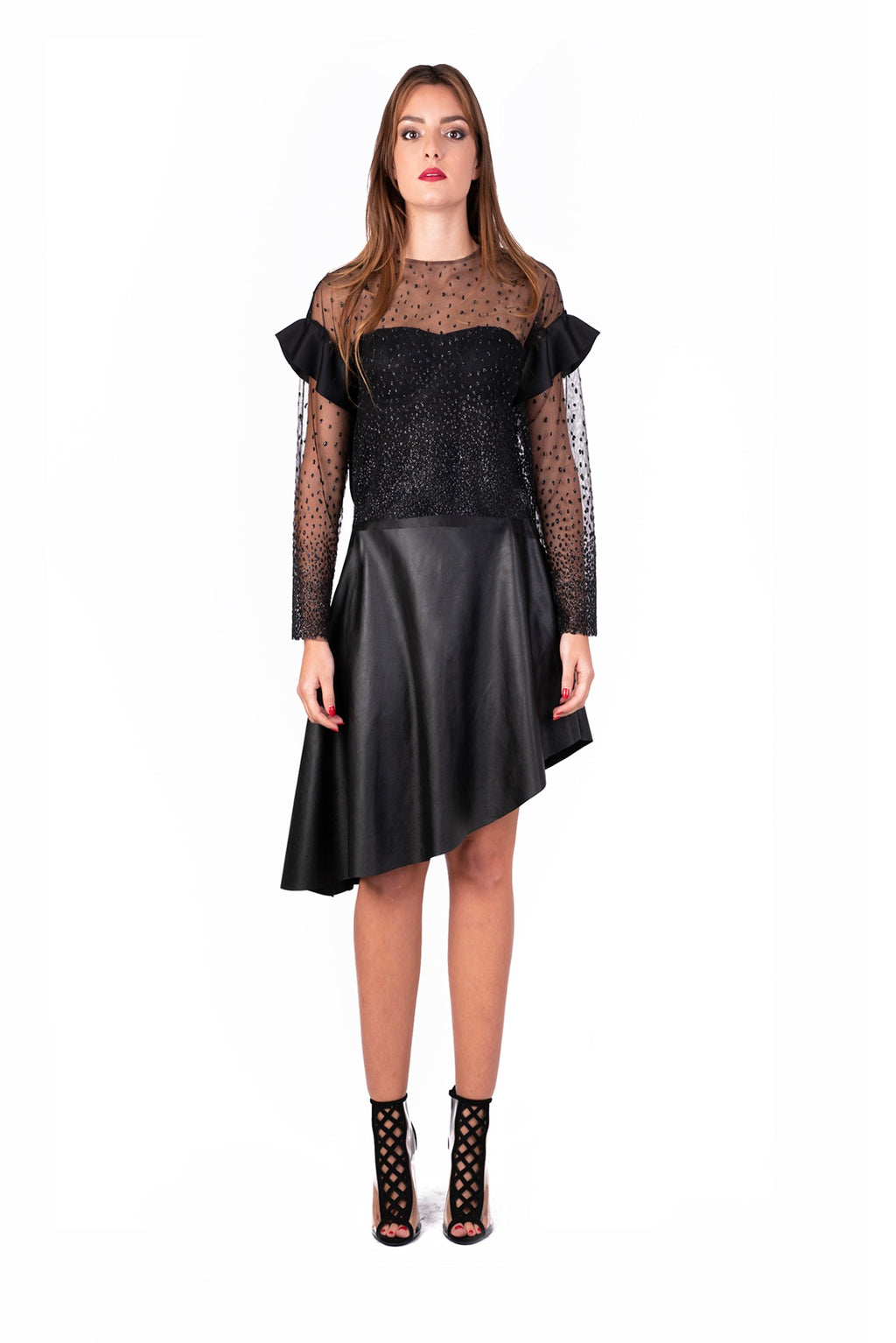Sparkling sheer mesh top with ruffle sleeves