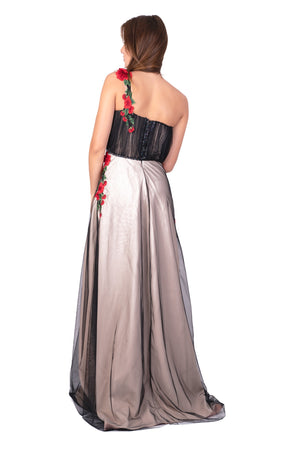 Embellished tulle bustier maxi gown with red embroidered flowers