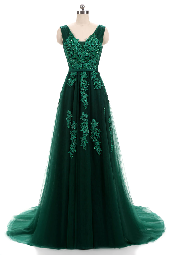 Forest Green Lace Formal Prom Evening Dress with Open Back – JoJo Shop