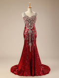 Sparkly Red Mermaid Evening Dress with Crystals