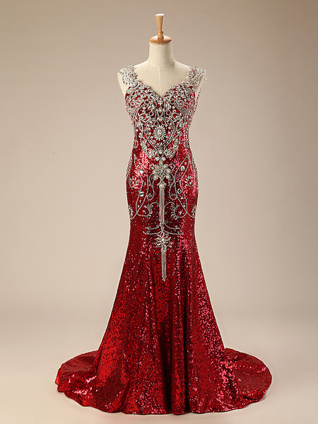 Sparkly Red Mermaid Evening Dress With Crystals Jojo Shop