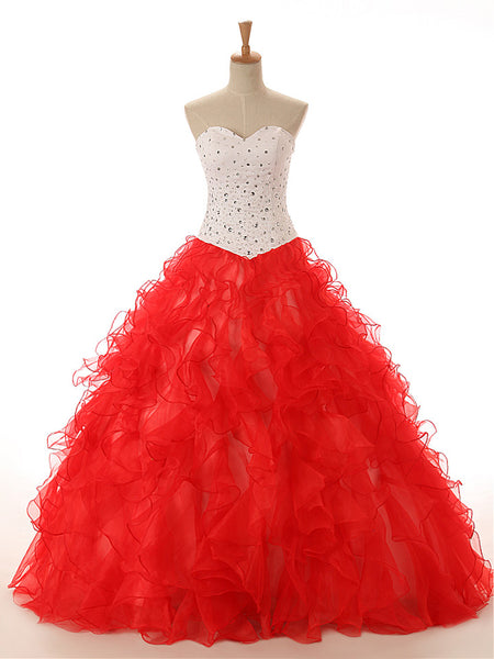 Strapless Red Ruffle Quinceanera Ball Gown