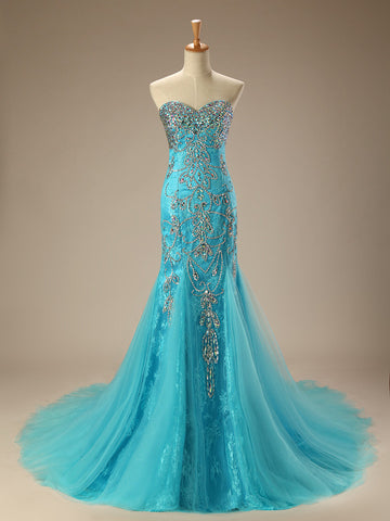 Turquoise Jeweled Lace Mermaid Formal Evening Dress