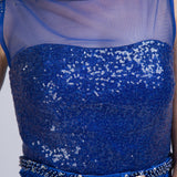 Modest Sequined Shimmery Royal Blue Long Formal Prom Evening Dress