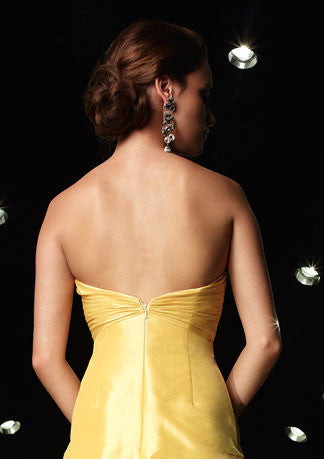 Yellow Strapless Mermaid Formal Prom Evening Dress HB104A