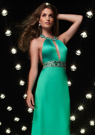 Halter Hot Green Floor Length Formal Evening Dress HB113A
