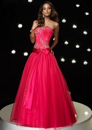 Strapless Emboridered Ball Gown Home Coming Dress HB116A