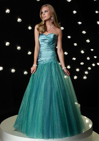 Teal Green Strapless Sweetheart Tulle Home Coming Prom Formal Dress HB117A