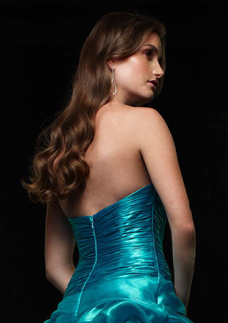 Teal Blue Strapless Ball Gown Home Coming Prom Formal Dress HB119A