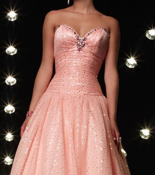 Strapless Blush Pink Ball Gown Homecoming Dress HB127A