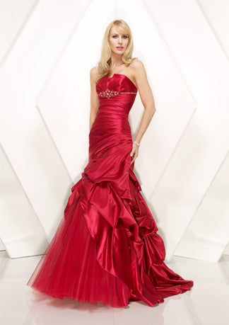 Elegant Red Fit And Flare Formal Prom Evening Dress HB129A