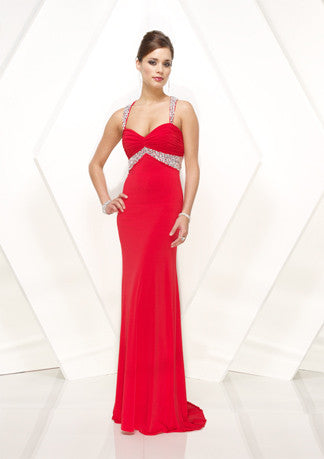 Elegant Red Formal Prom Evening Dress With Straps HB130A