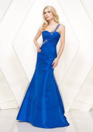 Grecian Blue Jeweled One Shoulder Prom Formal Evening Dress HB137A