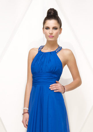 Grecian Blue Halter Formal Prom Evening Dress HB138A