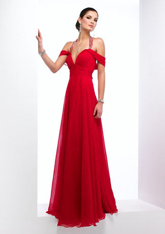 Chiffon Halter Red Off Shoulder Prom Formal Evening Dress HB141A