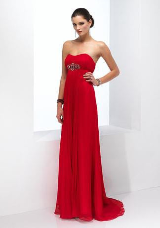 Strapless Red Empire Floor Length Evening Formal Dress HB142A