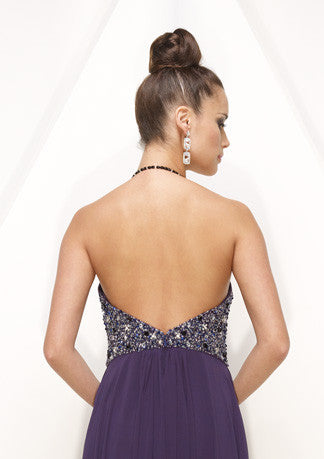 Grecian Purple Halter Sexy Hot Formal Evening Dress HB143A