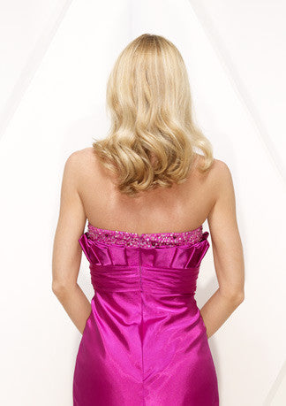 Strapless Pink Fuschia Side Slit Sexy Prom Formal Evening Dress HB147A