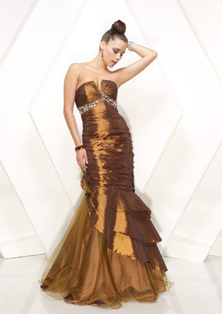 Metalic Brown Strapless Mermaid Formal Prom Dress HB150A