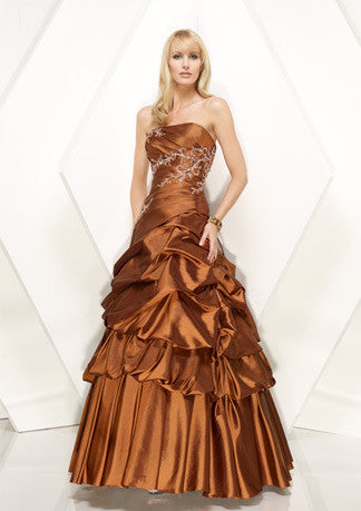 Copper Brown Strapless A-Line Prom Formal Home Coming Dress HB152A
