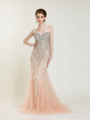 Strapless Jeweled Mermaid Formal Prom Dress