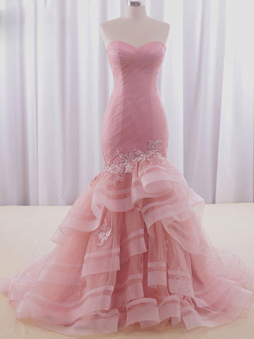 Strapless Pink Fit and Flare Formal Prom Evening Dress