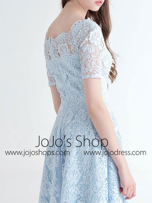 Short Sleeves Lace Bridesmaid Dress