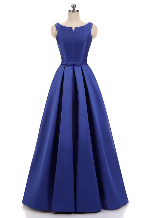 Blue Modest Floor Length Formal Occasion Dress
