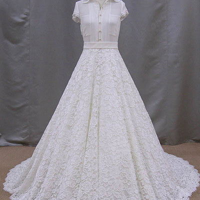 Retro Style Lace Wedding Dress With Short Sleeve Blouse | BB005