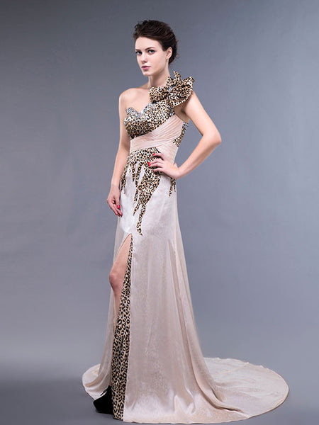 One Shoulder Leopard Champagne Formal Prom Evening Dress with Slit