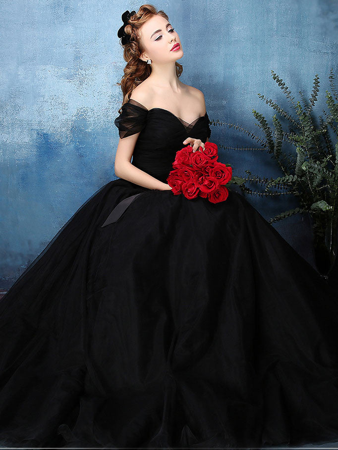 Black Off Shoulder Tulle Ball Gown Formal Dress | X1603
