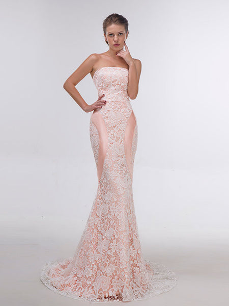 Sexy Strapless Peach Lace Mermaid Prom Formal Dress