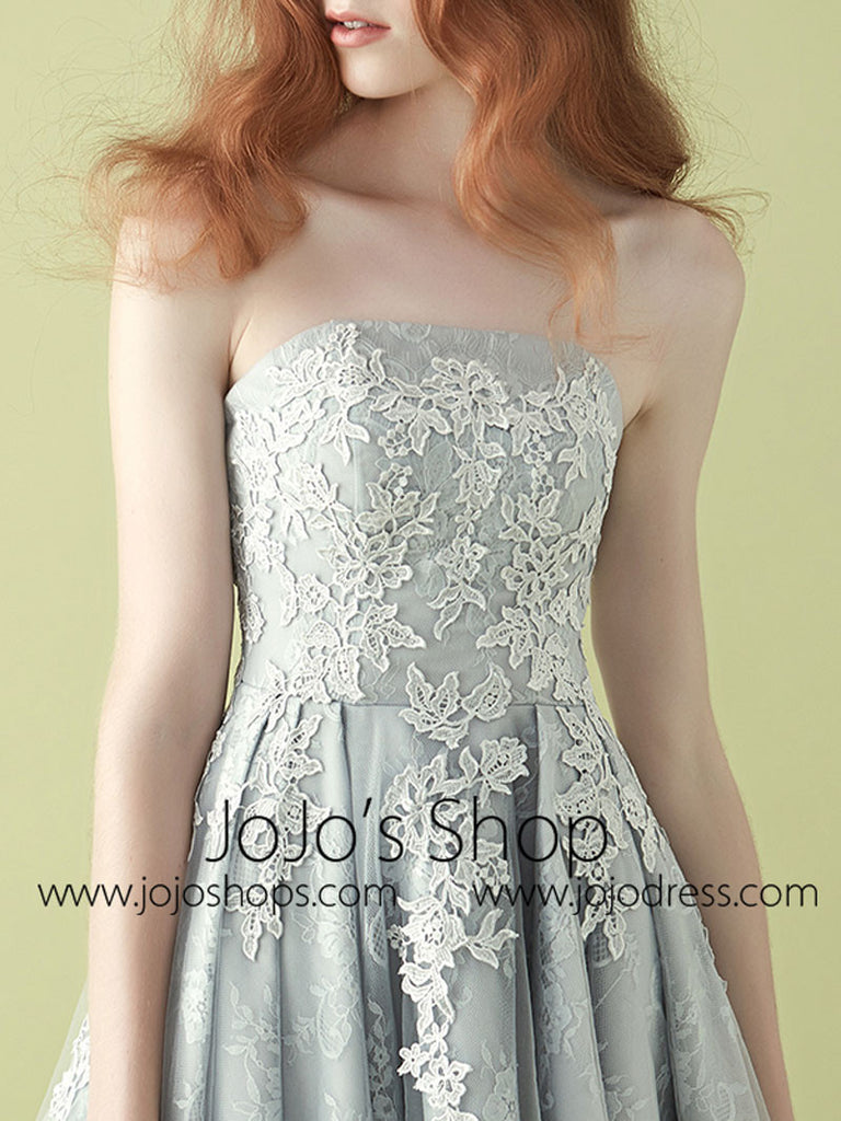 2 Piece Short Gray Lace Semi Prom Cocktail Dress