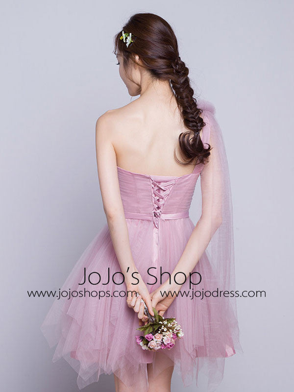 One Shoulder Short Bridesmaid Dress