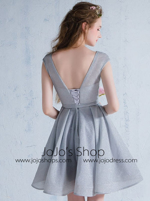 Short Gray Bridesmaid Dress with Short Sleeves