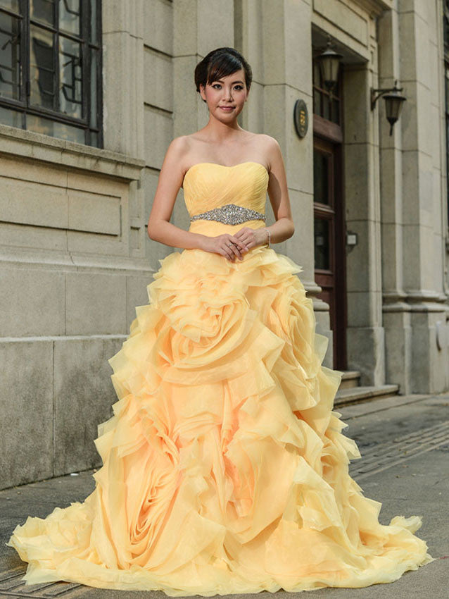 Yellow Strapless Formal Evening dress with Ruffle Skirt