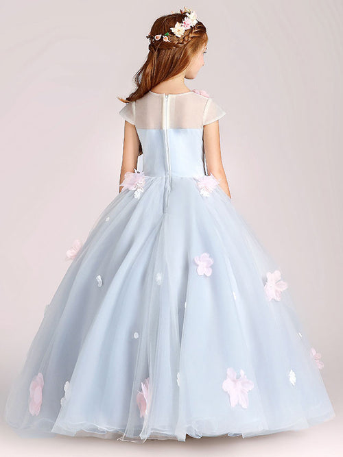 Gray Flower Girl Princess Ball Gown Party Dress Birthday Dress