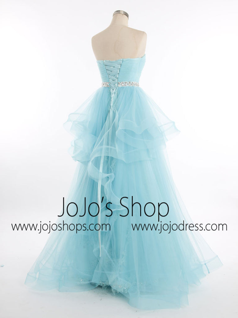 Blue Strapless Tulle Lace Prom Formal Pageant Dress