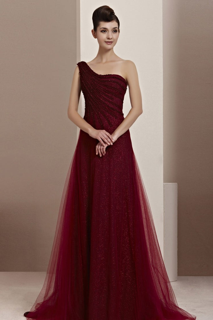 Grecian Asymmetric One Shoulder Burgundy Prom Formal Evening Dress CX830111