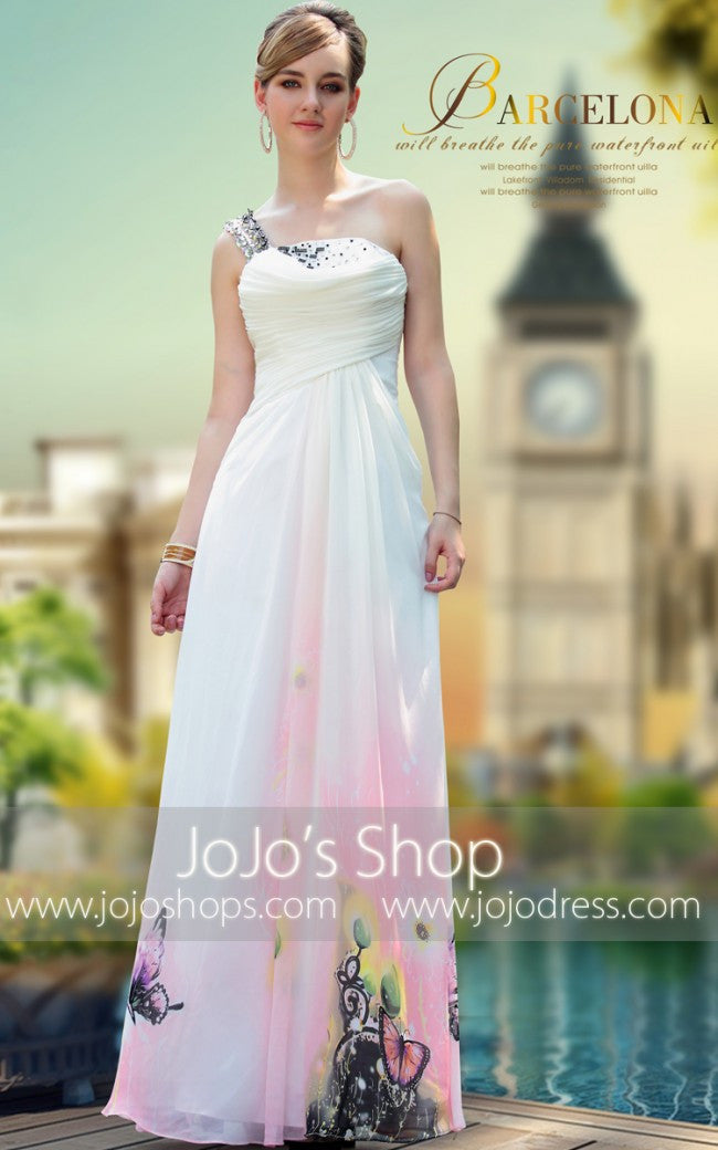 Pink Butterfly One Shoulder Formal Prom Evening Gown DQ830641
