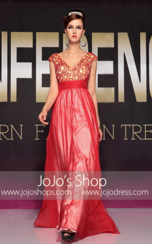 Grecian Red V Neck Formal Prom Evening Dress | DQ830700